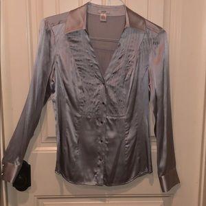 Cache silver v-neck silk blouse